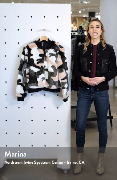 Malabar Camo Faux Fur Bomber Jacket, sales video thumbnail