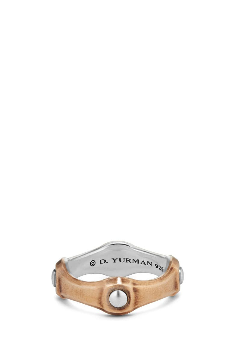 DAVID YURMAN Anvil Band Ring with Bronze, 8mm, Main, color, SILVER/ BRONZE