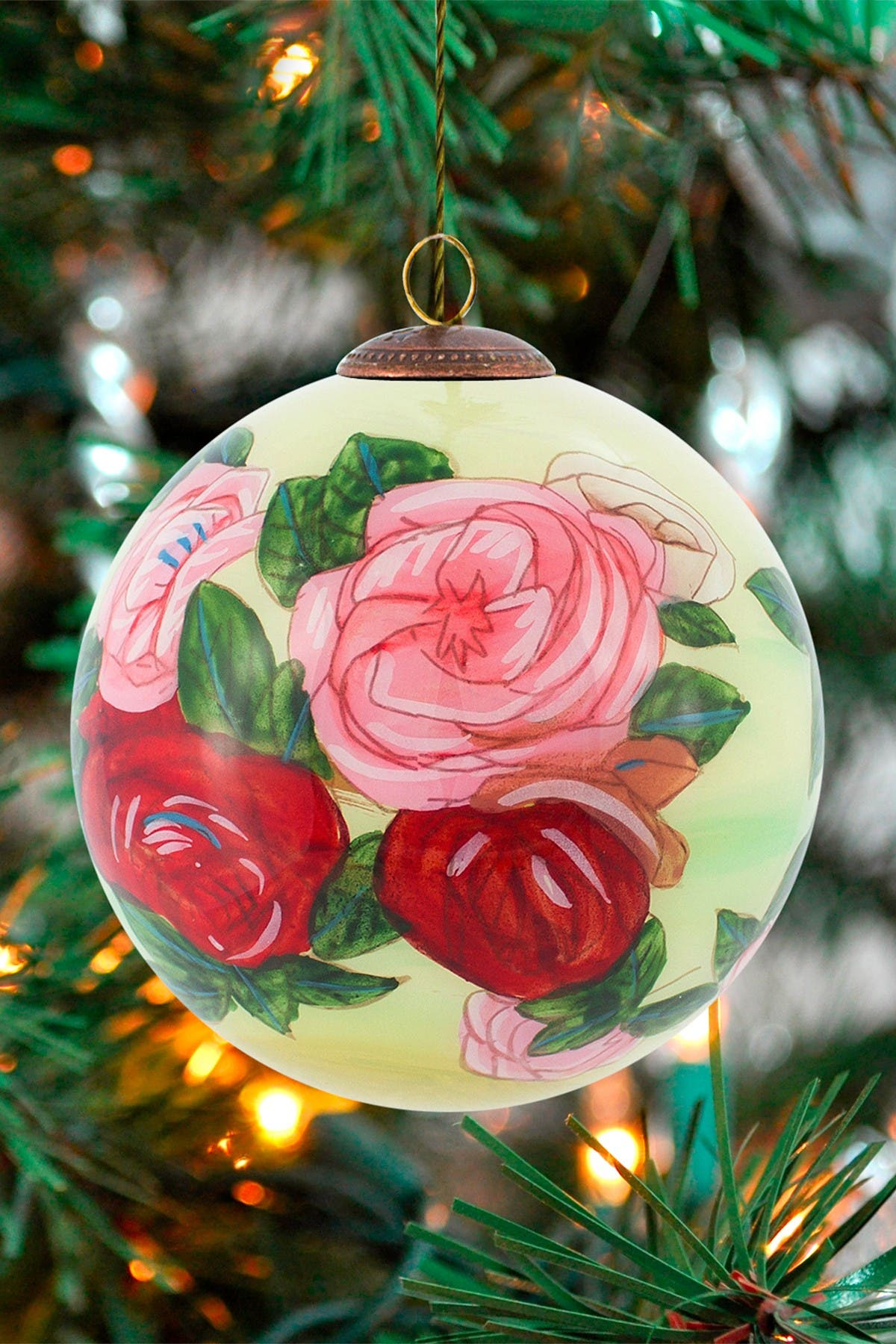 "Image of Overstock Art ""Discarded Roses"" Pierre-Auguste Renoir Hand Painted Glass Ornament Collection - Set of 12"