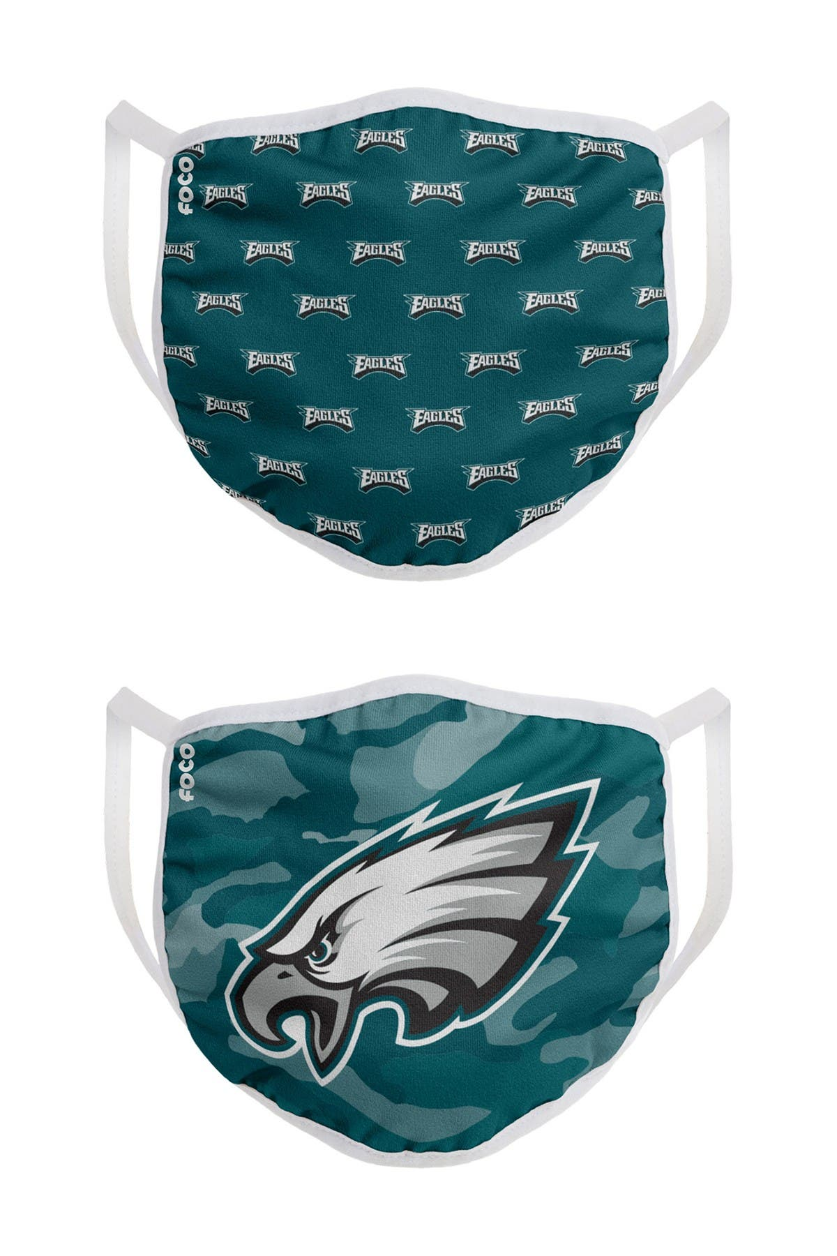 Image of FOCO NFL Philadelphia Eagles Clutch Printed Face Cover - Pack of 2