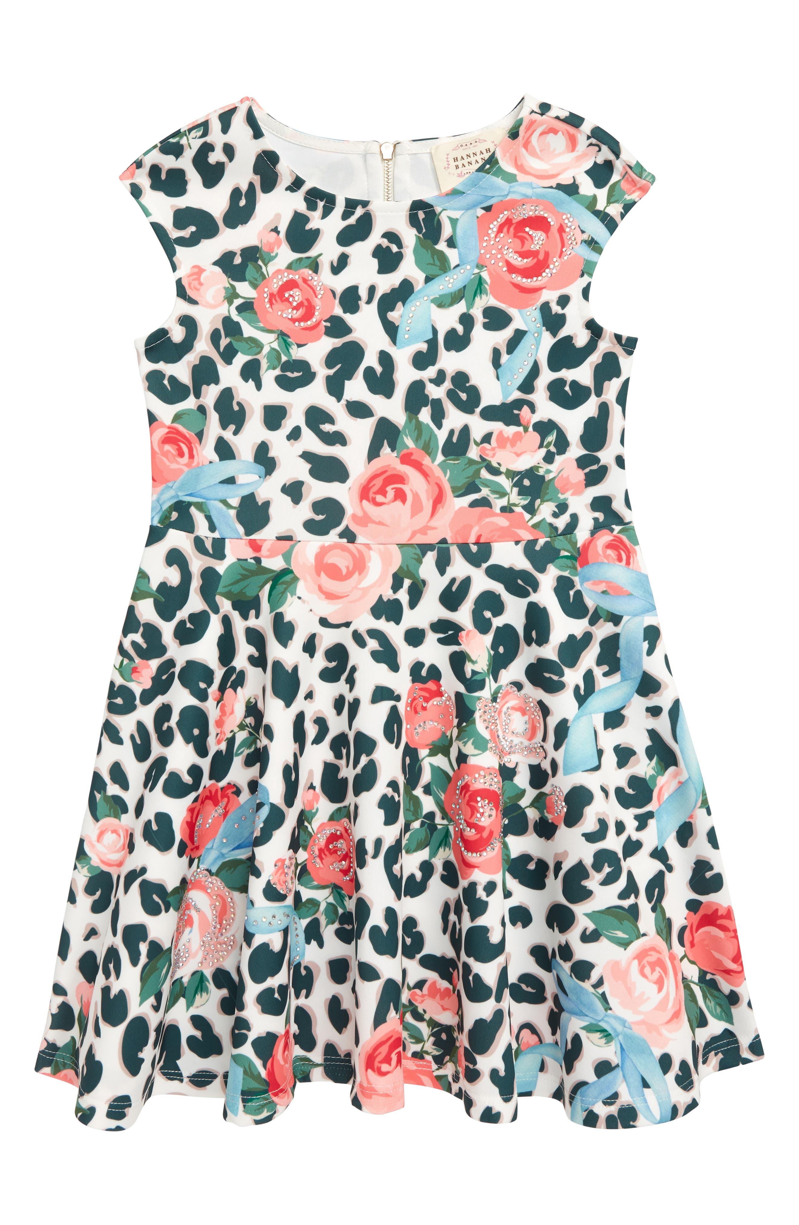 Girls Hannah Banana Leopard  Floral Scuba Fit  Flare Dress Size 6  White
