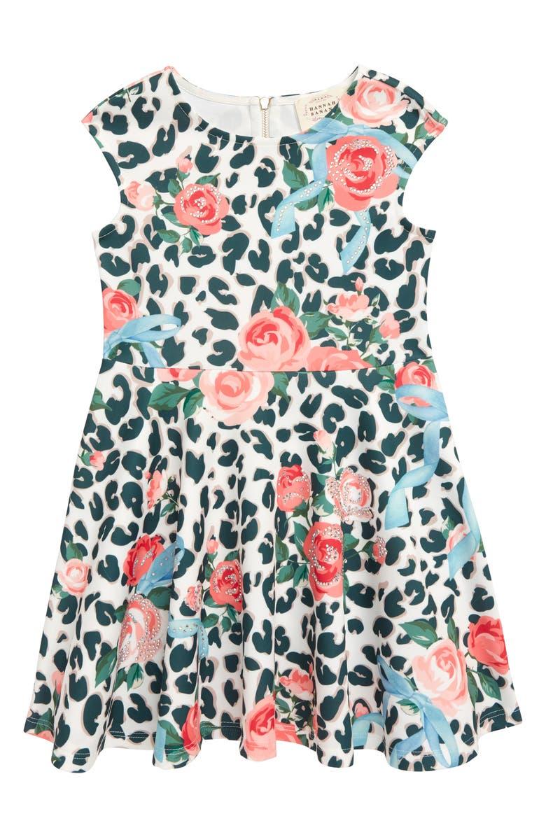 Leopard & Floral Scuba Fit & Flare Dress