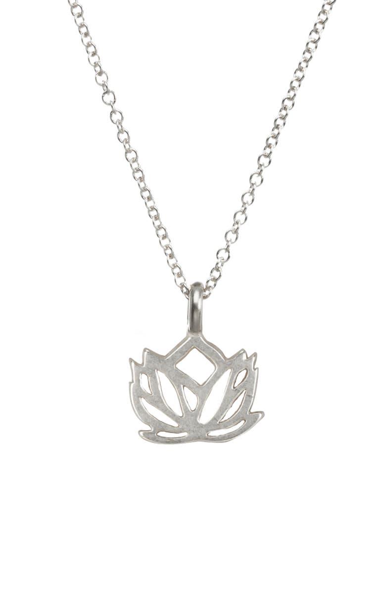 DOGEARED Lotus Reminder Pendant Necklace, Main, color, 042