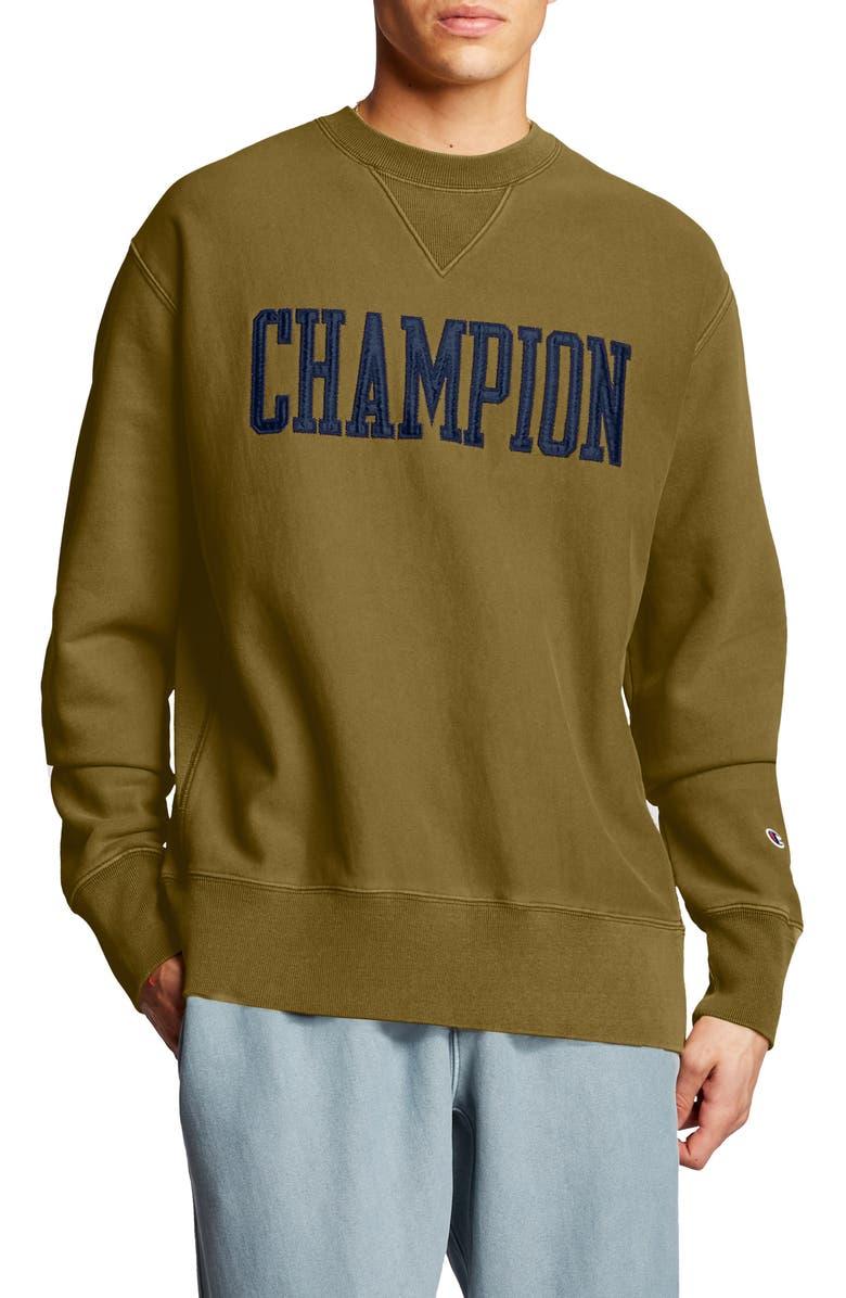 CHAMPION Logo Appliqué Crewneck Sweatshirt, Main, color, IMPERIAL GOLD