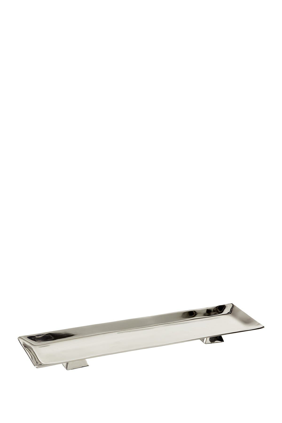 Image of Willow Row Contemporary Silver Aluminum Rectangular Tray