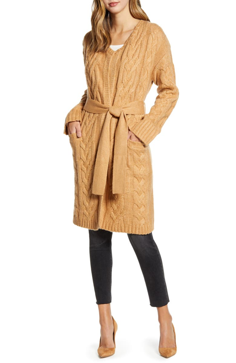 RACHEL PARCELL Cozy Cable Belted Long Cardigan, Main, color, 230