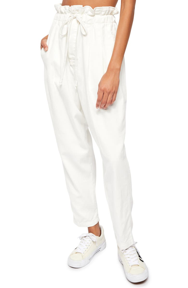 FREE PEOPLE Margate Pleated Trousers, Main, color, ZINC WHITE