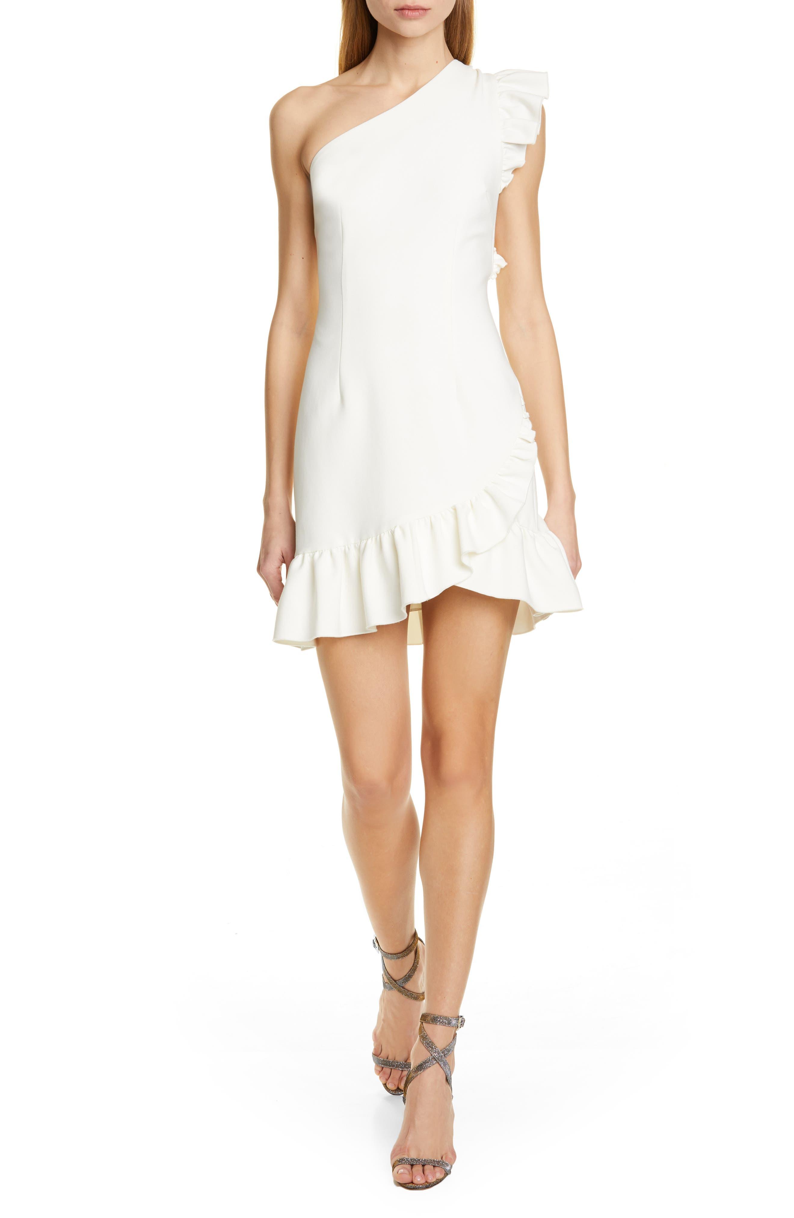 Cinq A Sept Soleil One-Shoulder Minidress, Ivory