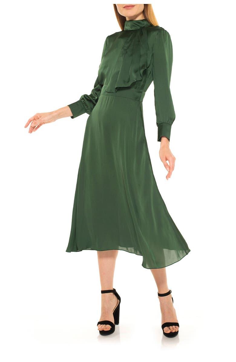 ALEXIA ADMOR Mock Neck Satin Midi Dress, Main, color, EMERALD