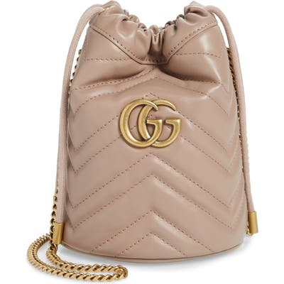 Gucci Mini Gg Marmont 2.0 Quilted Leather Bucket Bag - Beige