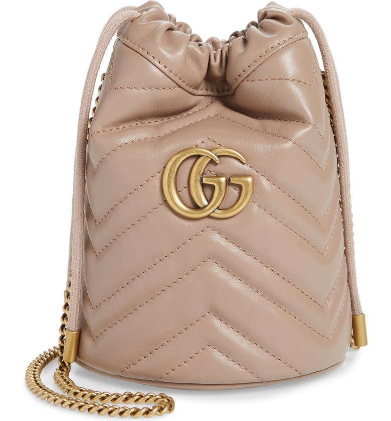 GUCCI Mini GG Marmont 2.0 Quilted Leather Bucket Bag, Main, color, PORCELAIN ROSE