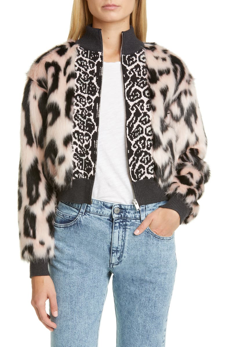STELLA MCCARTNEY Animal Faux Fur & Jacquard Bomber Jacket, Main, color, PINK BLACK