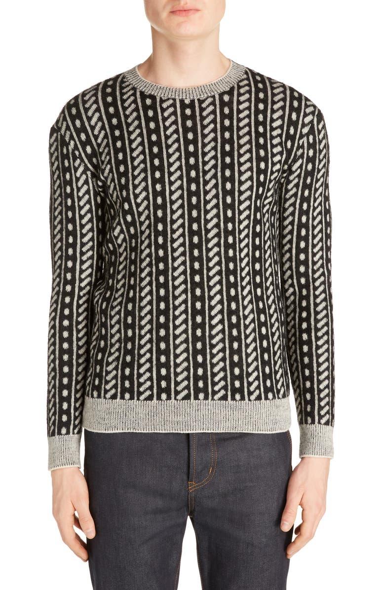 SAINT LAURENT Wool Blend Crewneck Sweater, Main, color, BLACK