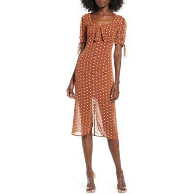 J.o.a. Polka Dot Front Button Midi Dress, Brown