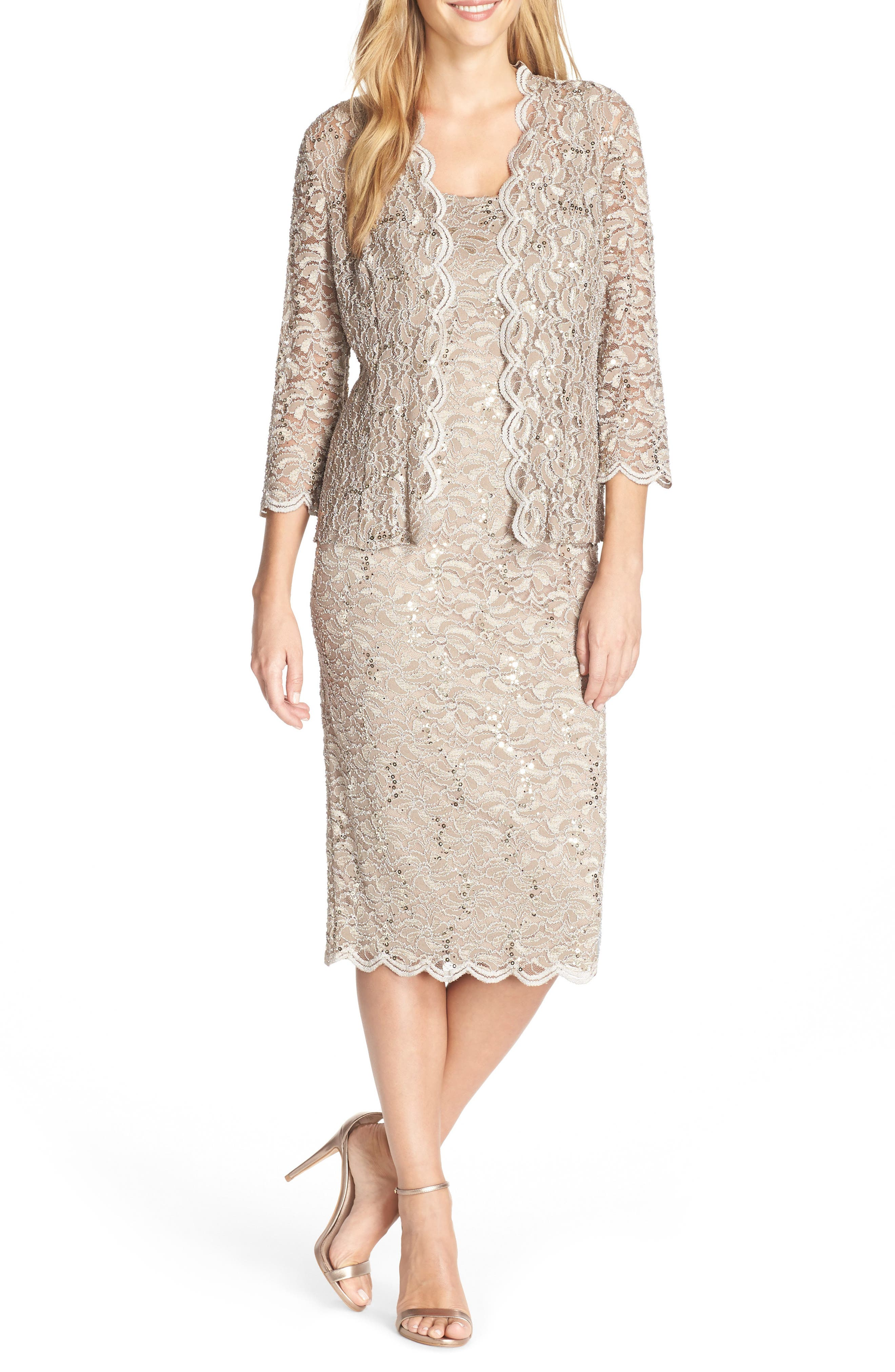 Effervescent sequins scatter along this lace sheath that comes with a matching jacket for an elegant way to cover your arms throughout the night. Style Name: Alex Evenings Lace Cocktail Dress With Jacket. Style Number: 1172609. Available in stores.
