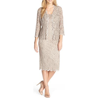 Petite Alex Evenings Lace Cocktail Dress With Jacket, Beige