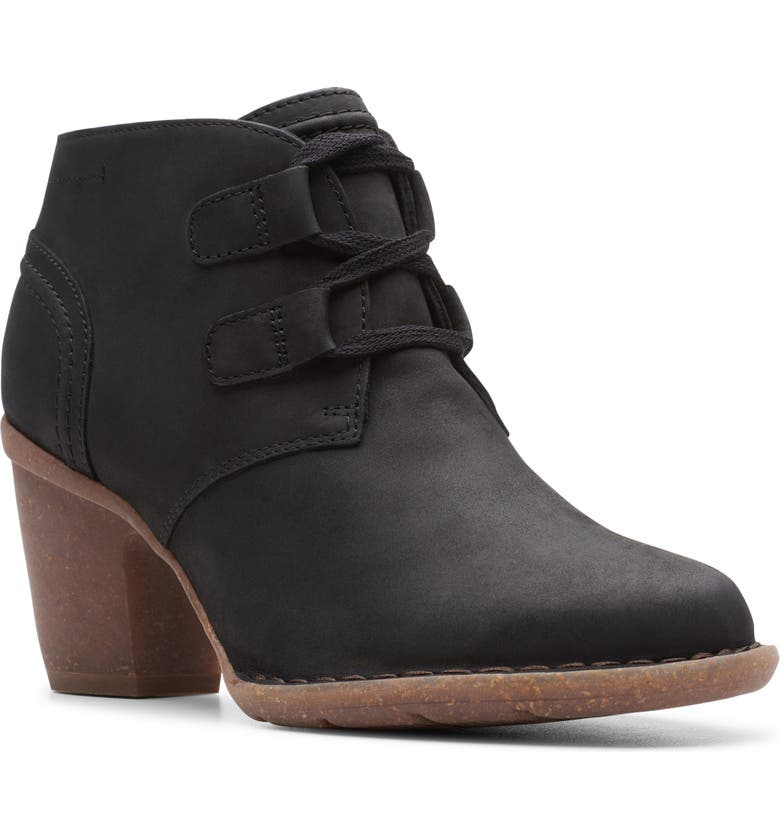 CLARKS<SUP>®</SUP> Carleta Lyon Ankle Boot, Main, color, BLACK OILY LEATHER