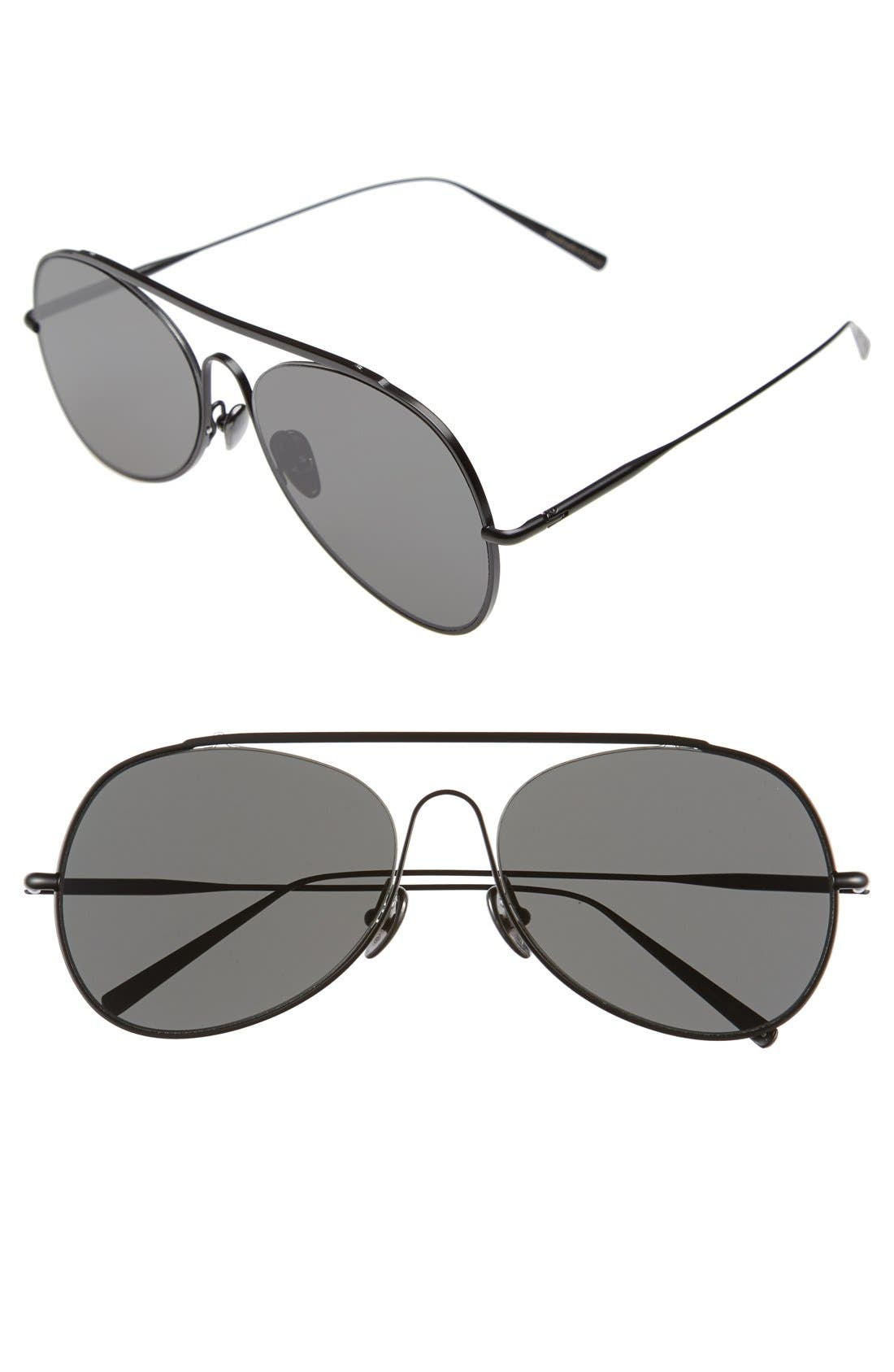 ,                             Large Spitfire 57mm Aviator Sunglasses,                             Main thumbnail 1, color,                             BLACK SATIN/ BLACK
