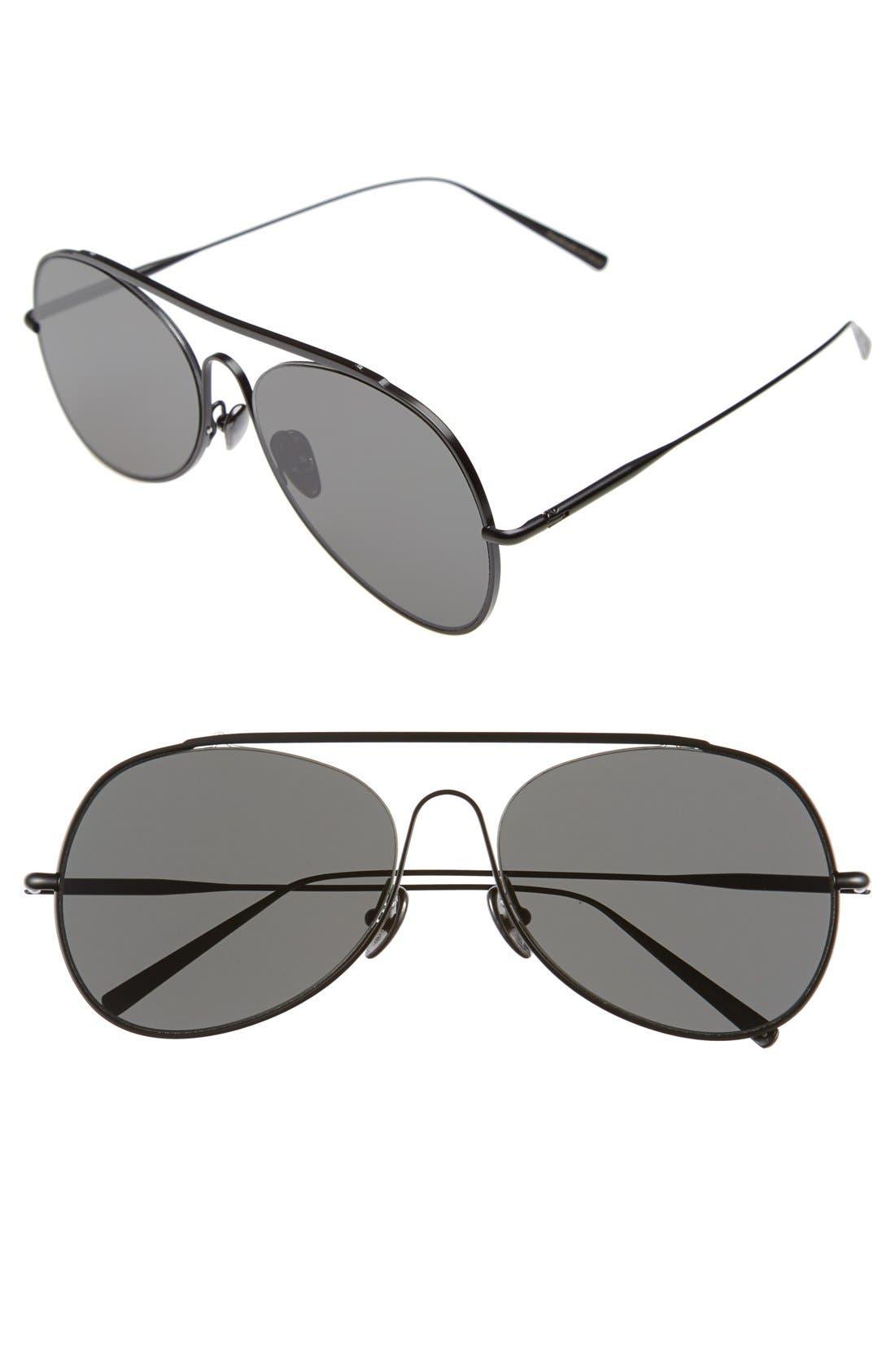 Large Spitfire 57mm Aviator Sunglasses, Main, color, BLACK SATIN/ BLACK