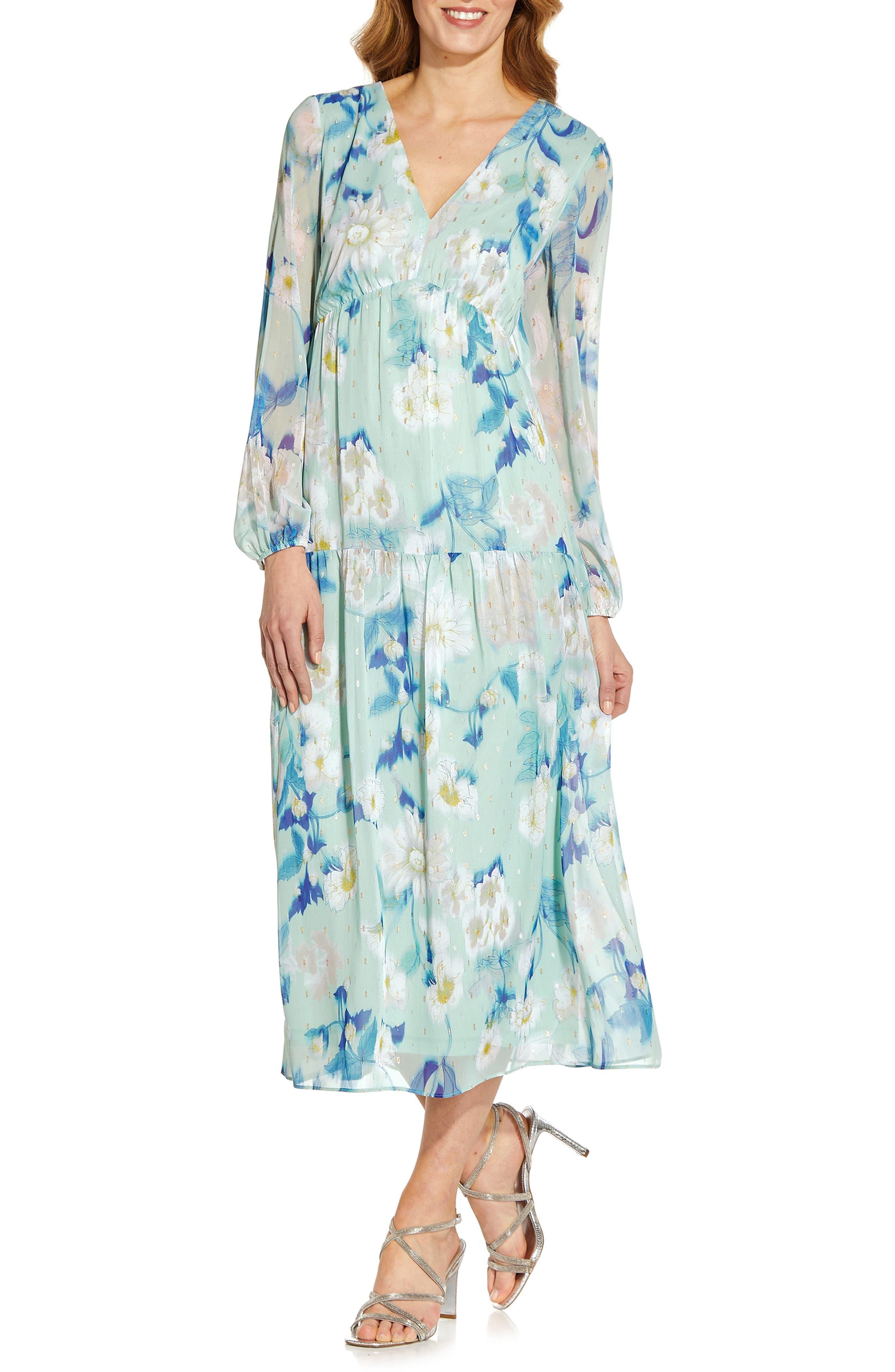 Floral Long Sleeve Chiffon Dress