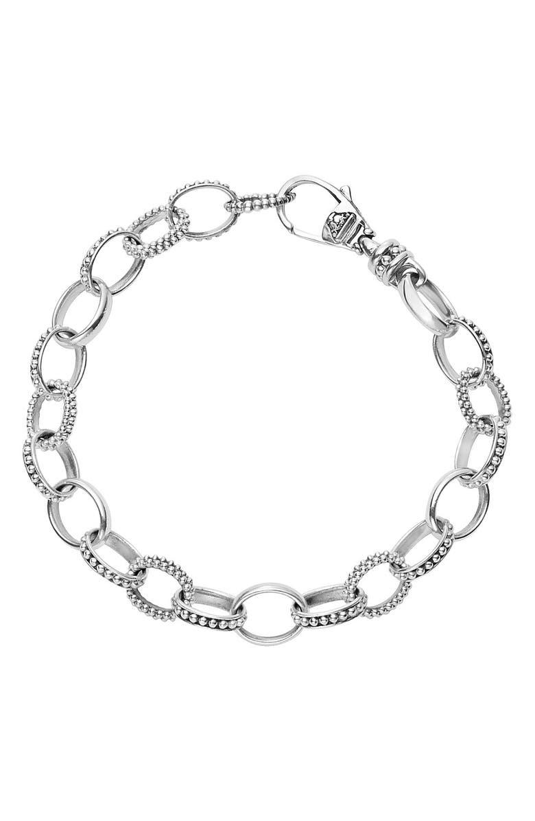 LAGOS 'Link' Caviar Chain Bracelet, Main, color, SILVER