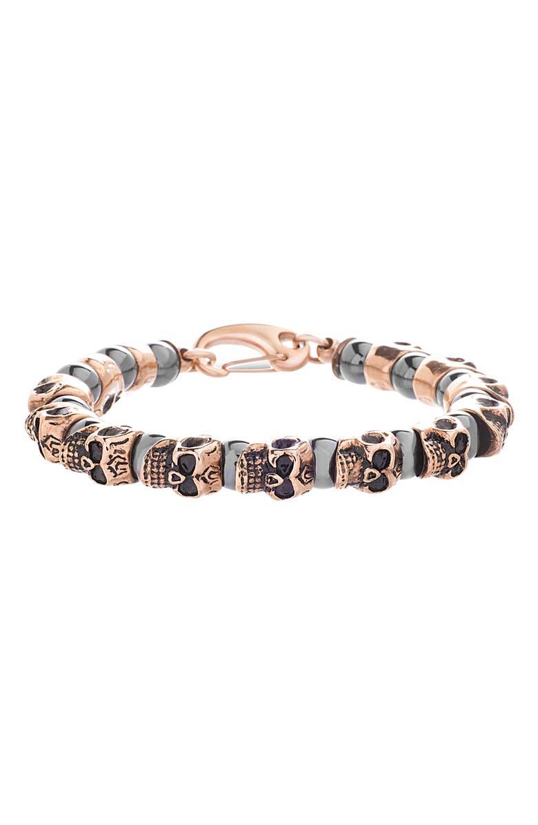 STEVE MADDEN Hematite Beaded Skull Bracelet, Main, color, 710