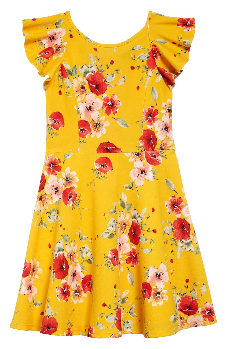 AVA & YELLY Flutter Sleeve Fit & Flare Dress, Main, color, YELLOW