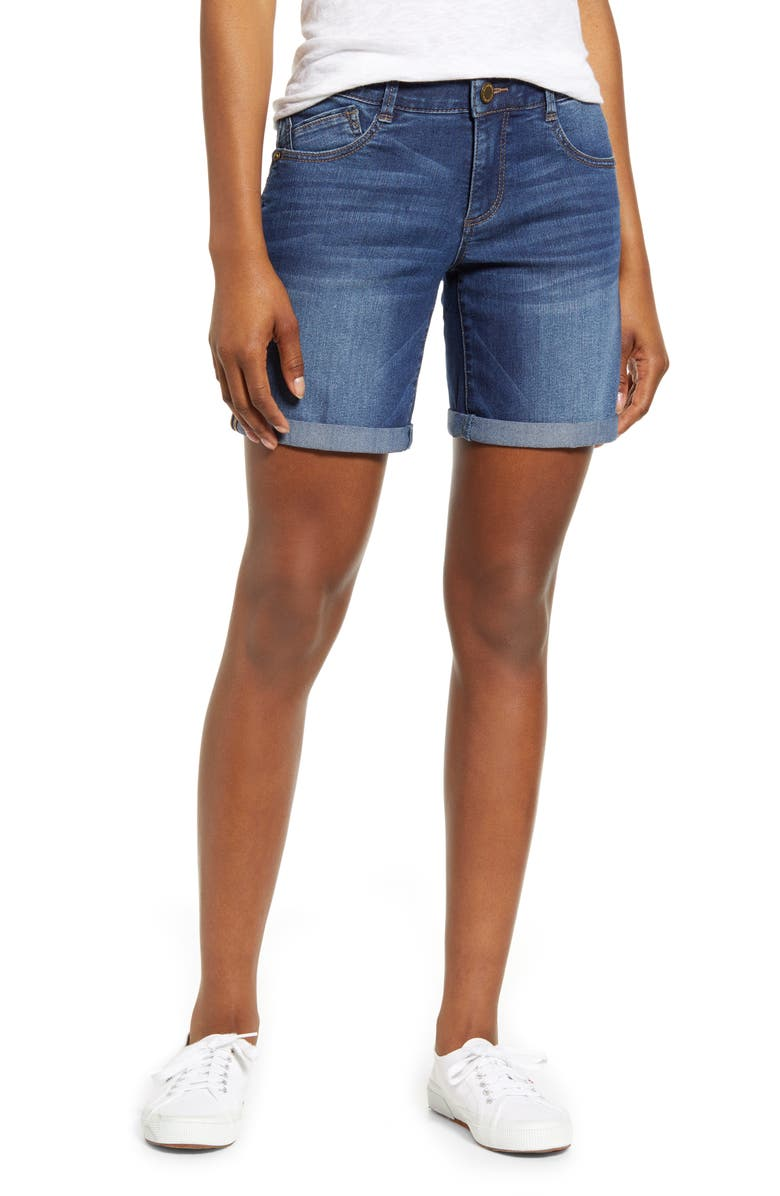 WIT & WISDOM Ab-solution Cuffed Denim Shorts, Main, color, BLUE