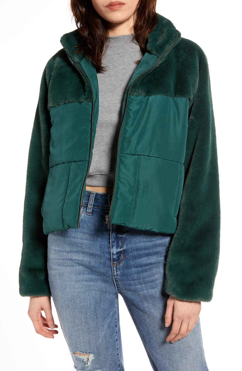 BP. Faux Fur Contrast Puffer Jacket, Main, color, 301