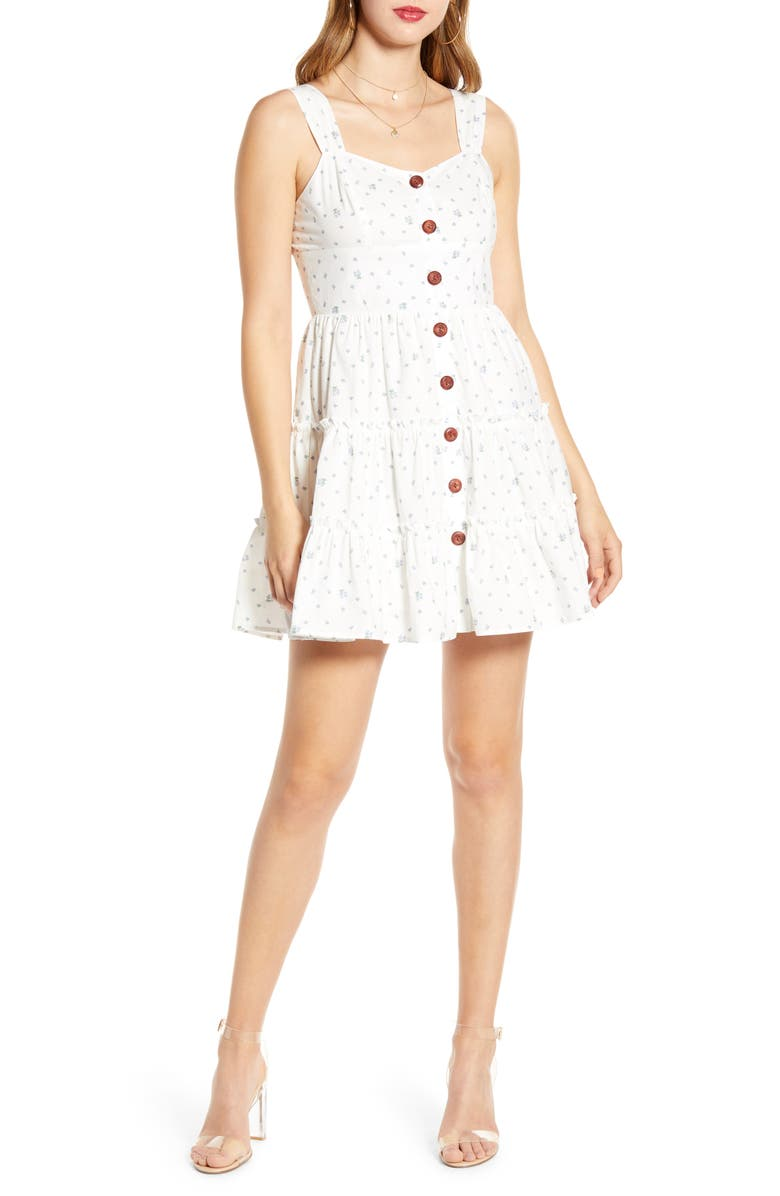 ENGLISH FACTORY Button-Up Cotton Fit & Flare Dress, Main, color, 100