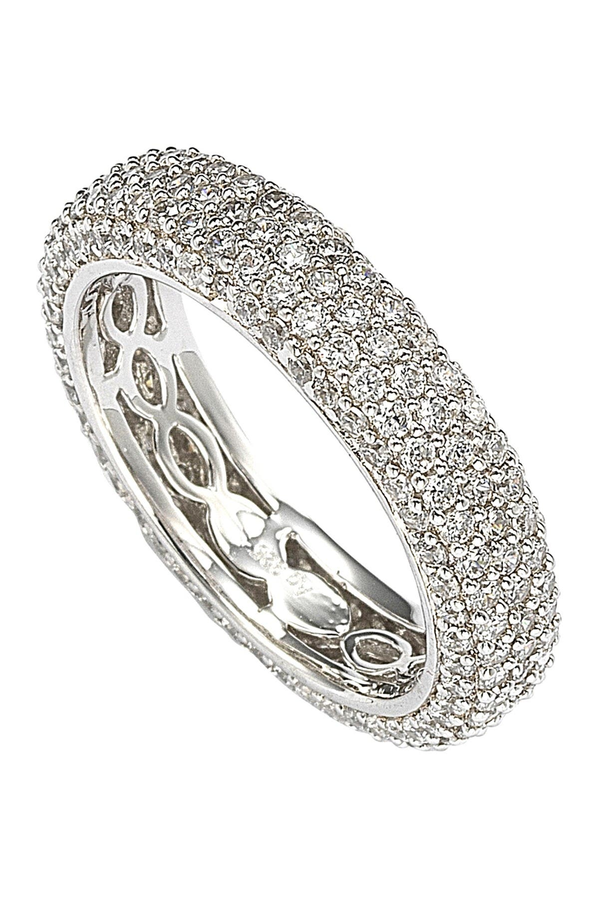 Image of Suzy Levian Sterling Silver Cubic Zirconia White Eternity Band Ring
