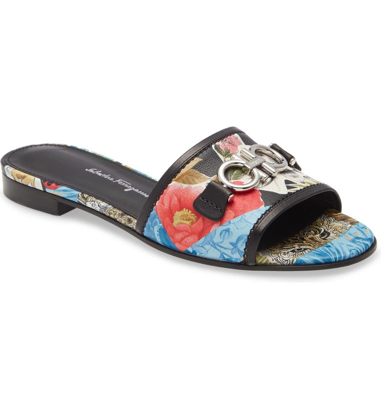 SALVATORE FERRAGAMO Rhodes Floral Leather Slide Sandal, Main, color, BLUE/ RED/ BLACK