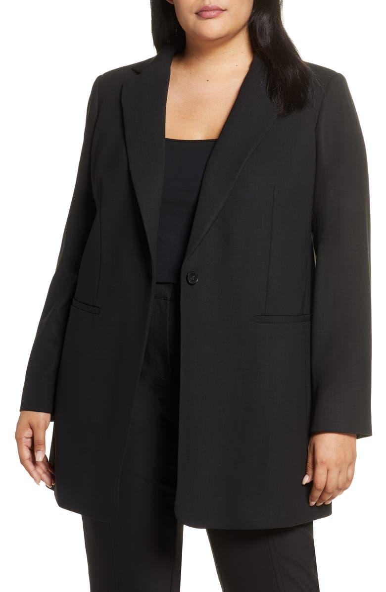 LAFAYETTE 148 NEW YORK Beau Stretch Wool Blazer, Main, color, BLACK