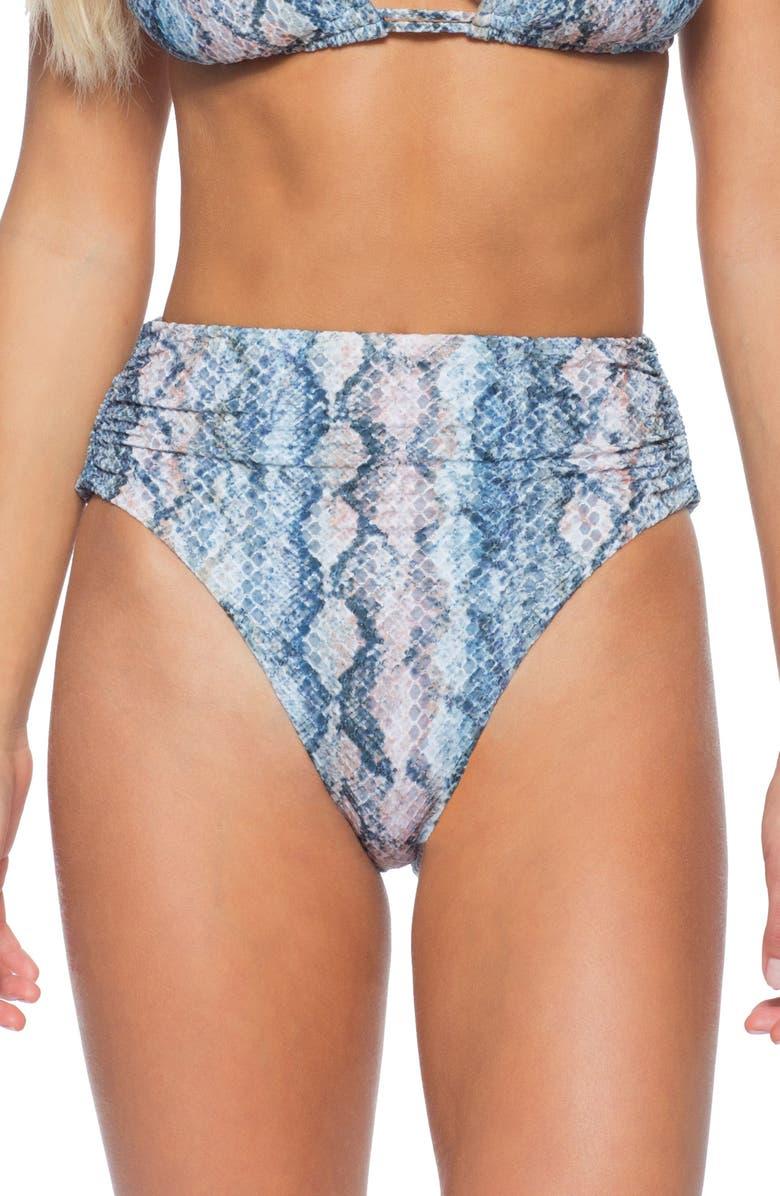 ISABELLA ROSE Vienna High Waist Tie Dye Bikini Bottoms, Main, color, BEIGE MULTI