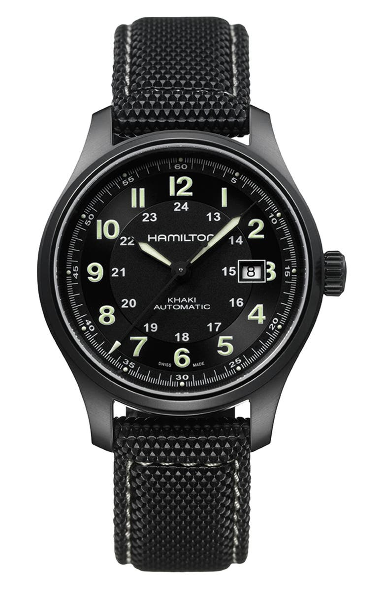 HAMILTON Khaki Field Automatic Silicone Strap Watch, 42mm, Main, color, BLACK