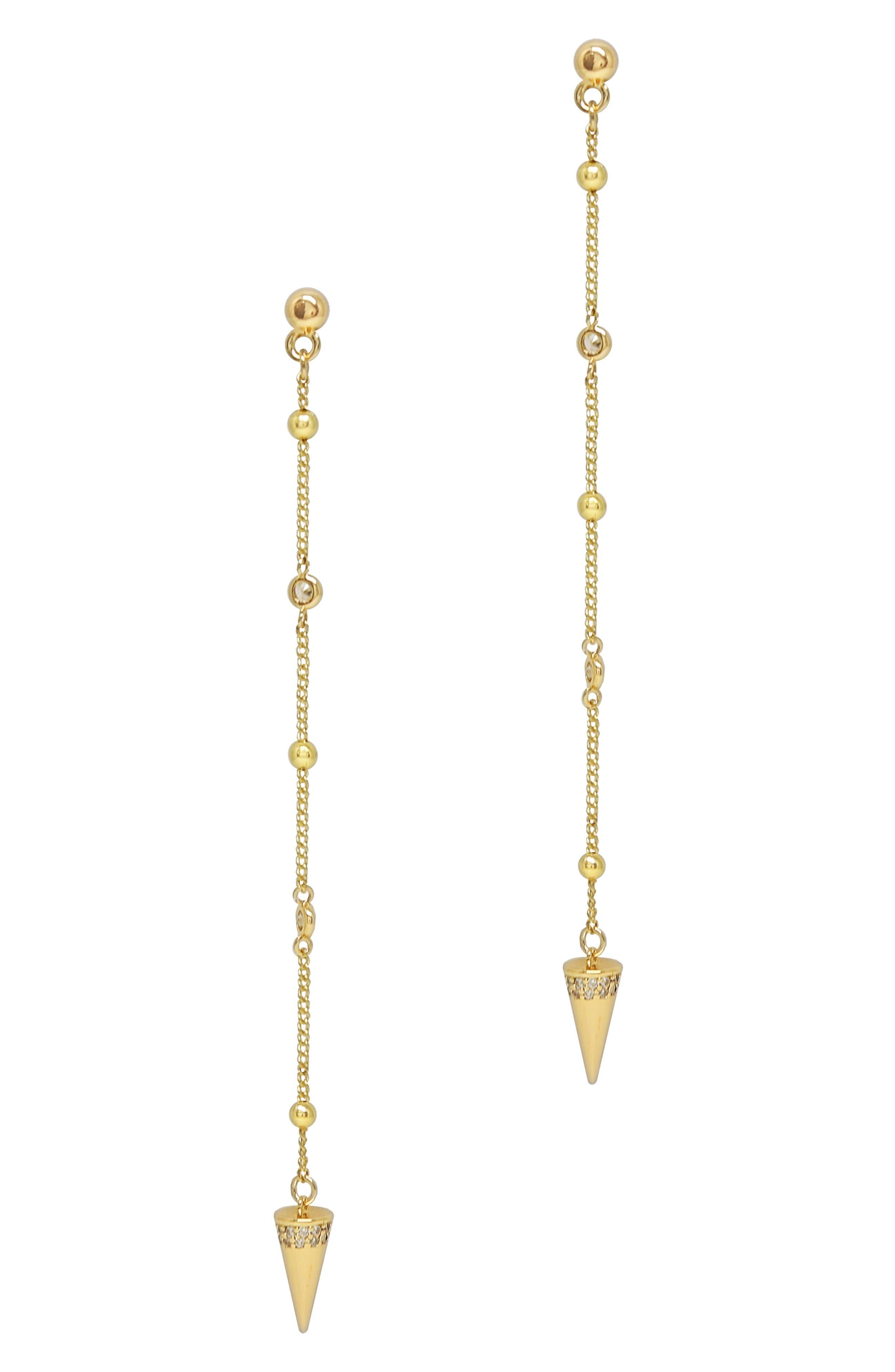 Linear Spike Chain Drop Earrings