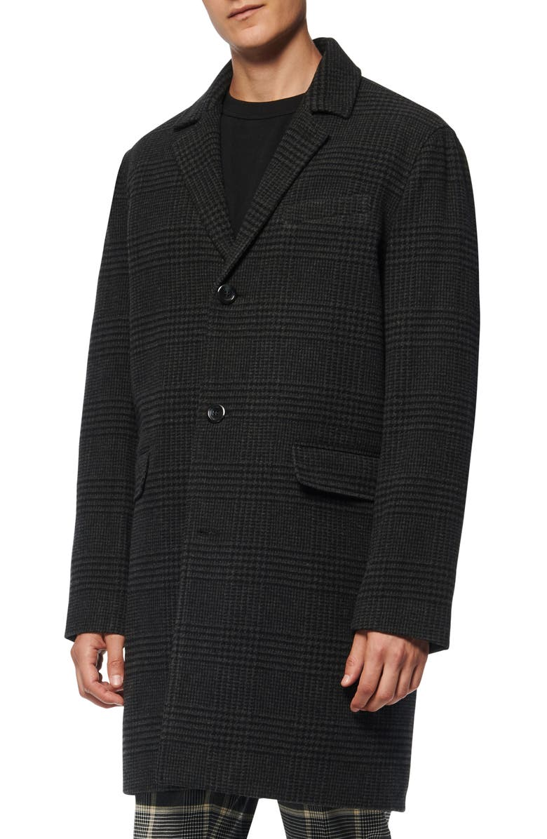 MARC NEW YORK Woodford Plaid Peacoat, Main, color, BLACK/GREY