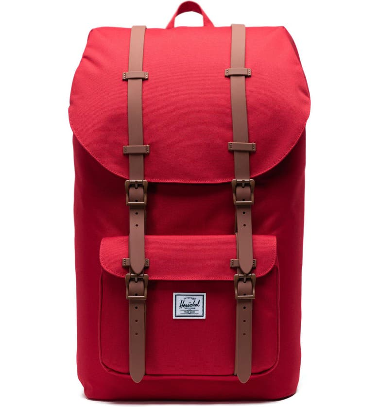HERSCHEL SUPPLY CO. Little America - Mid Volume Backpack, Main, color, RED/ SADDLE BROWN