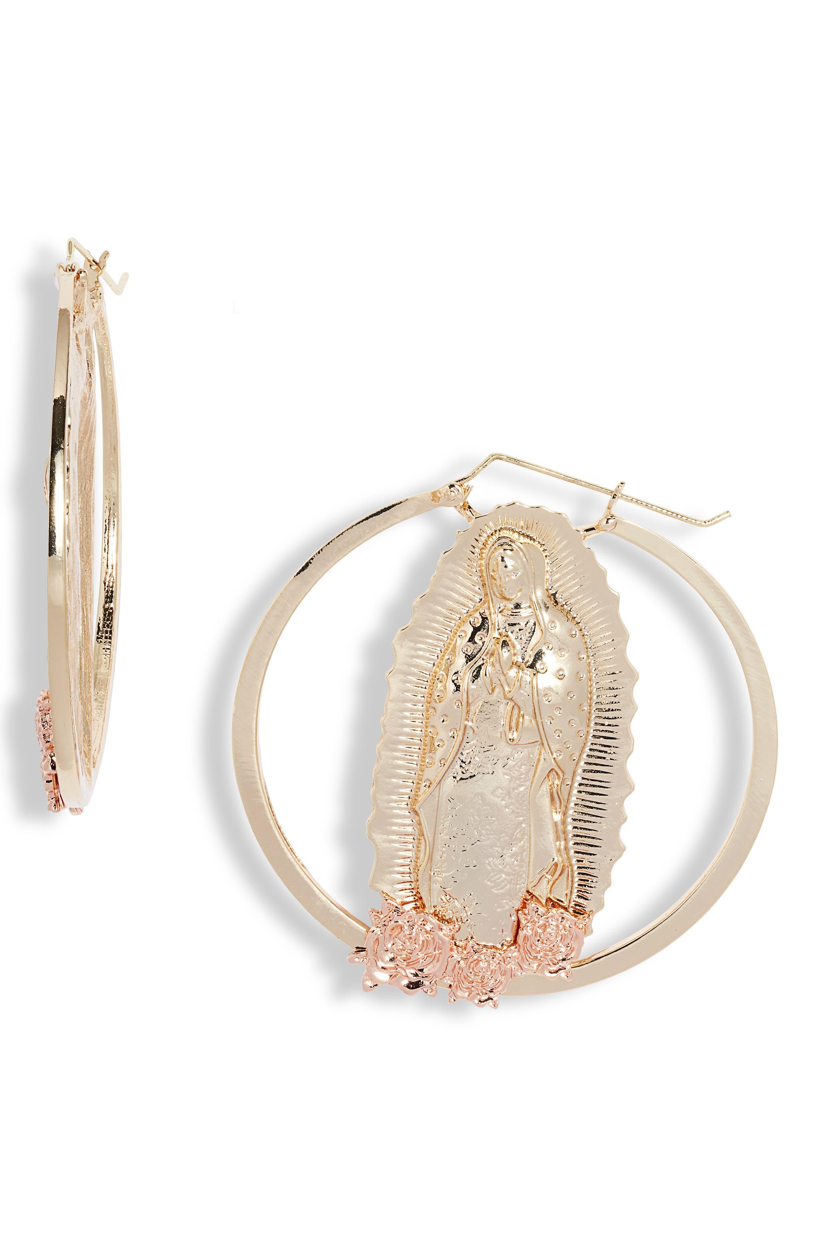 Virgin Mary Roses Hoop Earrings