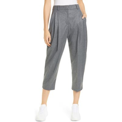 Stella Mccartney Pleat Crop Wool Trousers, US / 46 IT - Grey