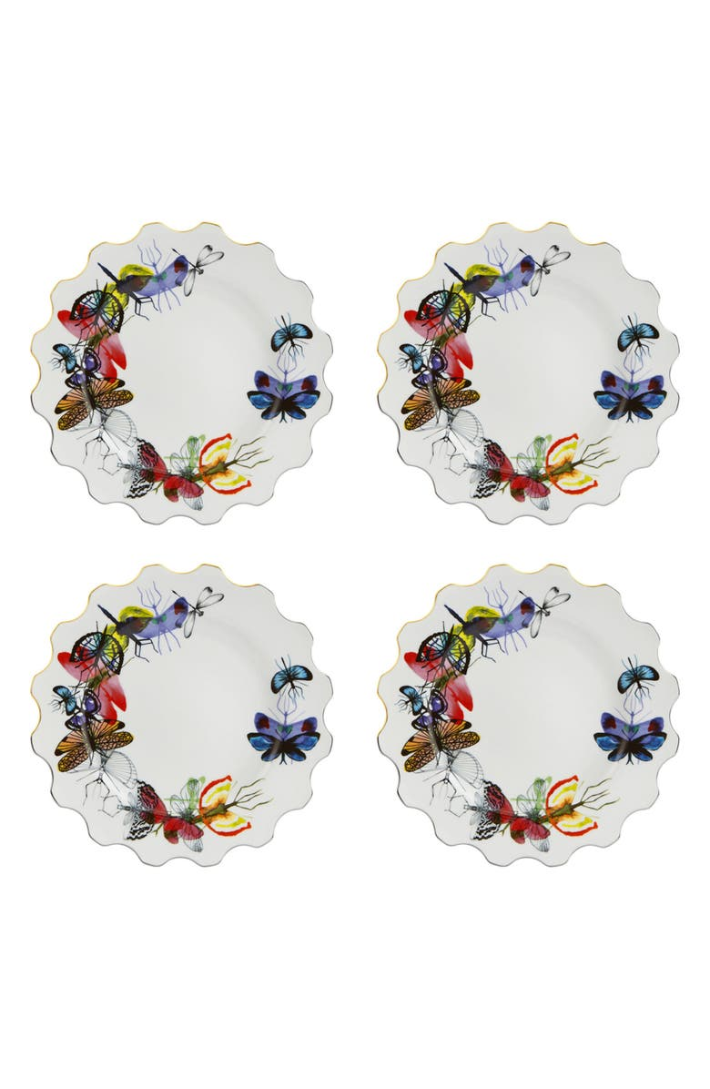 CHRISTIAN LACROIX Caribe Set of 4 Dinner Plates, Main, color, WHITE