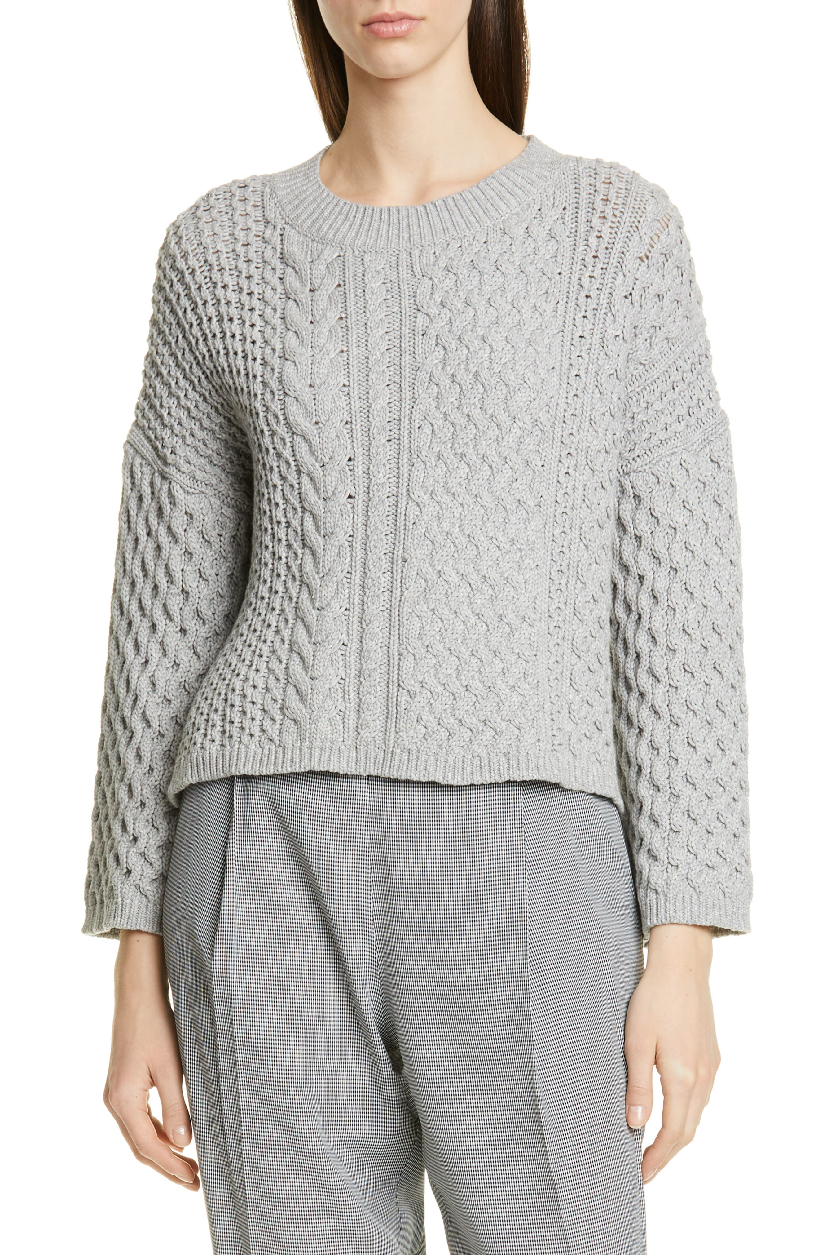 Cable Knit Cotton Blend Sweater by Jason Wu