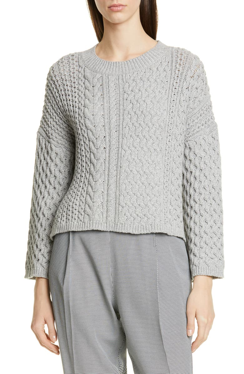 JASON WU Cable Knit Cotton Blend Sweater, Main, color, GREY HEATHER