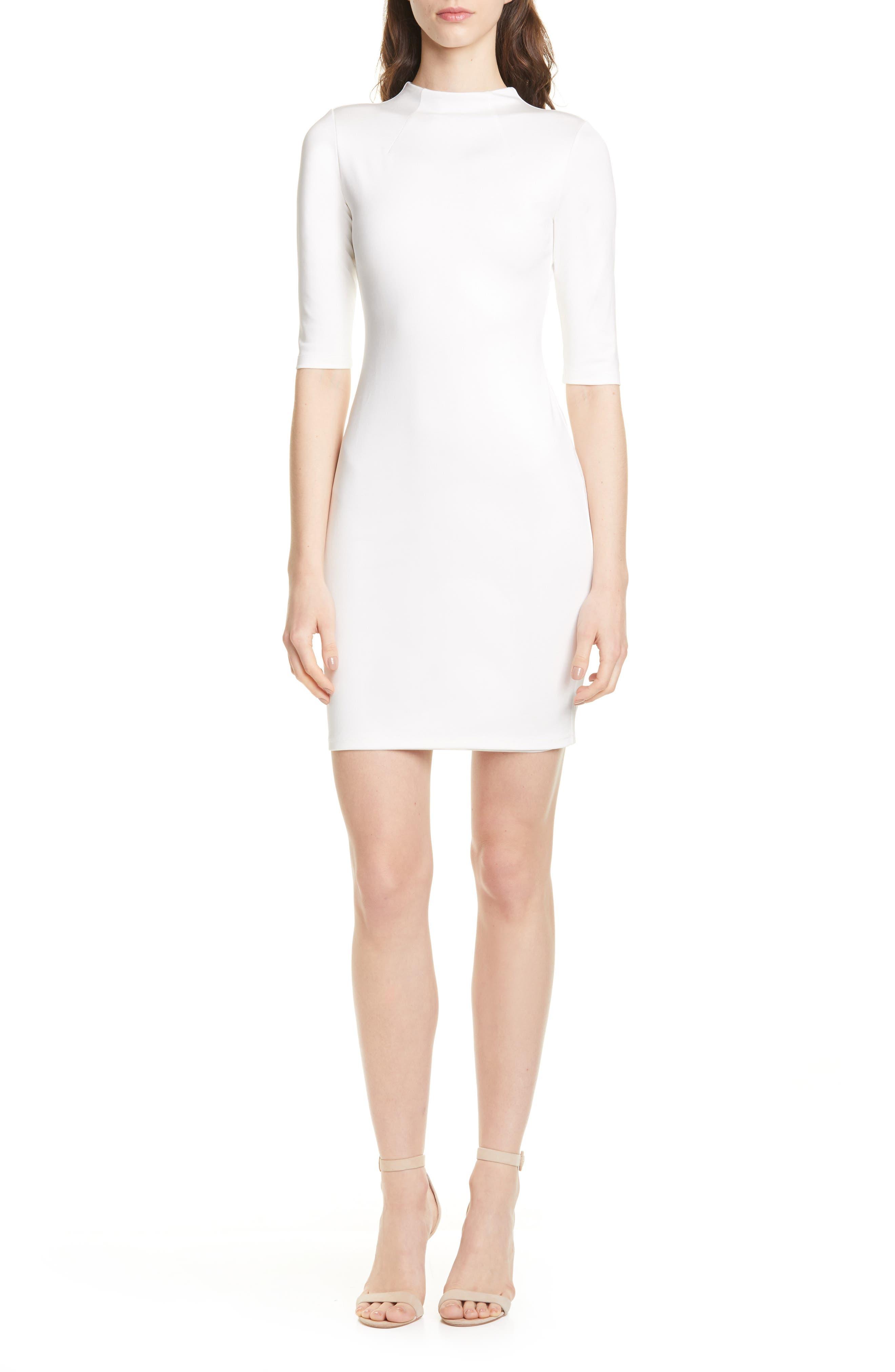 Alice + Olivia Delora Funnel Neck Body-Con Dress, Ivory