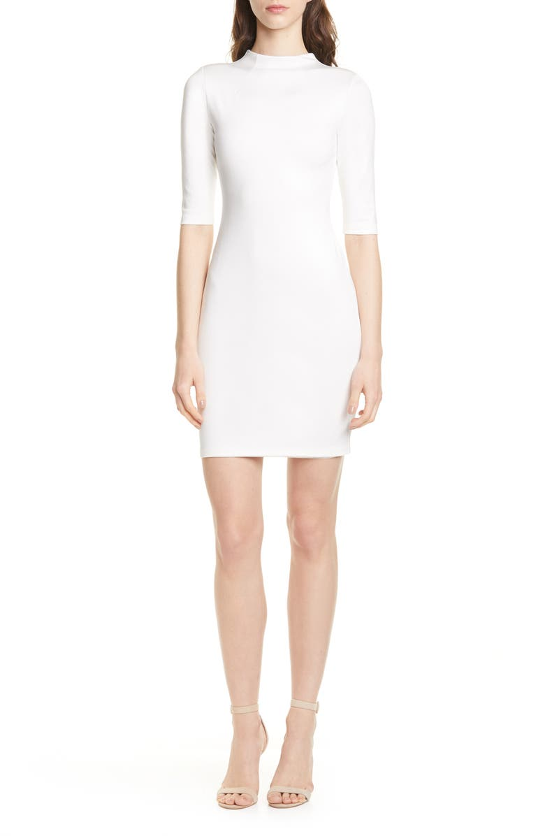 ALICE + OLIVIA Delora Funnel Neck Body-Con Dress, Main, color, OFF WHITE