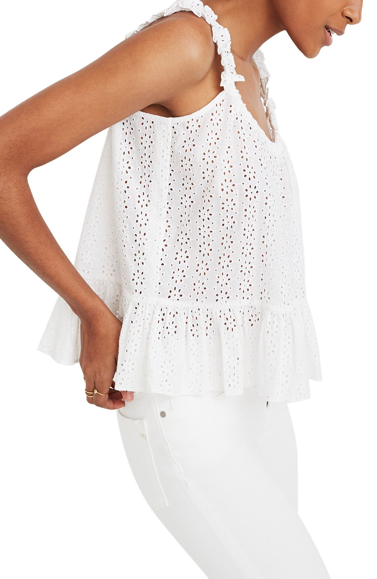 ,                             Eyelet Ruffle Strap Camisole,                             Alternate thumbnail 3, color,                             EYELET WHITE