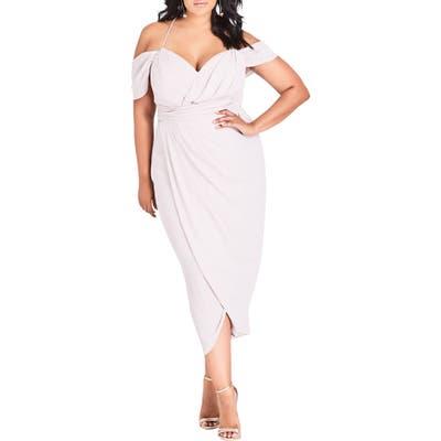 Plus Size City Chic Entwine Cold Shoulder Maxi Dress, Brown