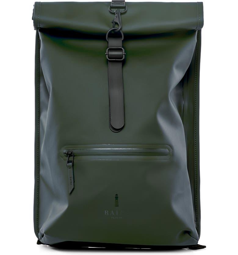 RAINS Waterproof Rolltop Backpack, Main, color, GREEN