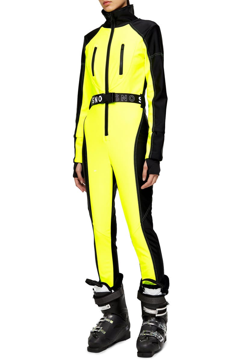 TOPSHOP SNO Neon Star Water Repellent Jumpsuit, Main, color, 700