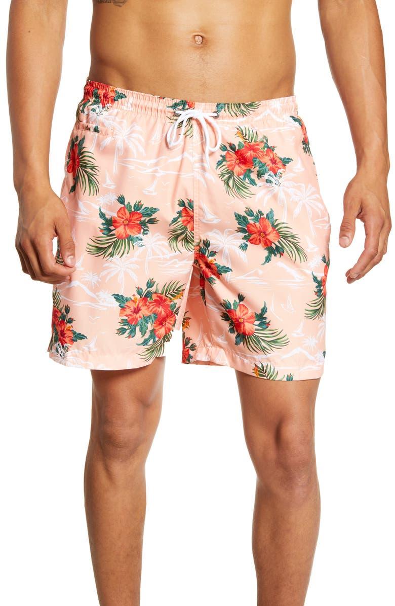 TRUNKS SURF & SWIM CO. Sano Tropical Print Swim Trunks, Main, color, PEACH CREAM